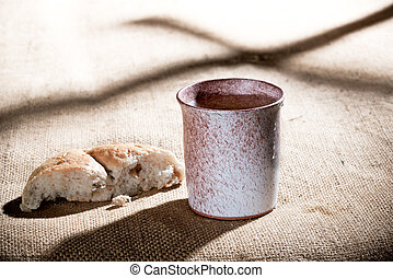 Chalice And Bread - still life with chalice and bread on the...