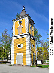 Finland. Church in Heinola - Finland. Old wooden bell-tower...