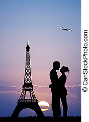 kissing in Paris - illustration of kissing in Paris