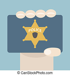 Police Badge - Illustration of hand showing a police badge
