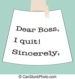 Quit Work - Illustration of hand sending a quitting letter