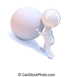 3d Little person pushes a ball uphill - 3d render of a...