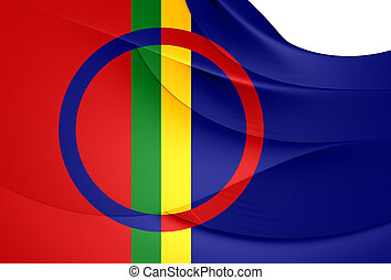 Sami Flag. Close Up. 3D.