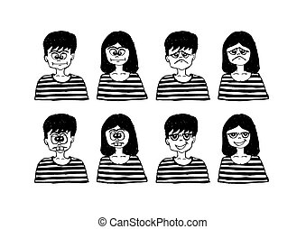 Set various emotions people cartoon faces