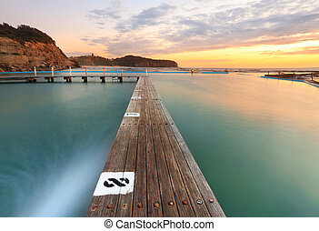 North Narrabeen Tidal Pool from Lane 8 at Sunrise - North...
