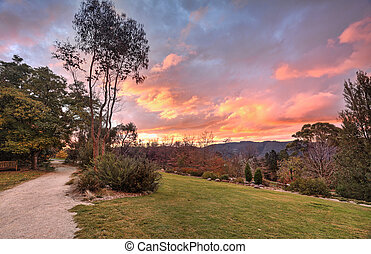 Autumn sunset Blue Mountains NSW Australia - Fiery clouds an...