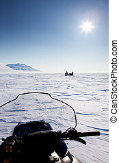 Snowmobile in Winter Landscape