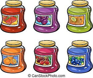 jams in jars set cartoon illustration