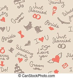 wedding pattern - vector wedding seamless pattern with...