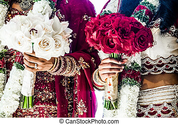 Two Indian Wedding Bouquets and brides - Red and White...