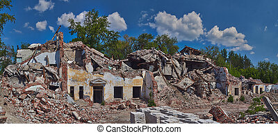 Ruins of an old brick house. - Ruins of an old ruined brick...