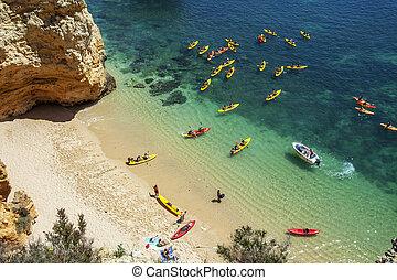 Beach in Lagos, Algarve, Portugal, cayake, cayak