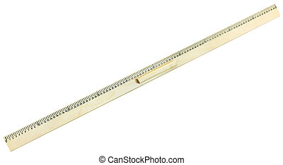 top view of wooden meter ruler isolated on white background
