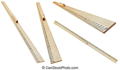 set of wooden meter rulers isolated on white background