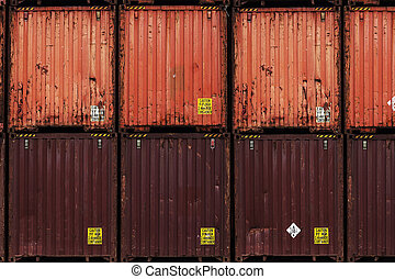 cargo containers, various colors