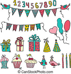 birthday party elements - Set of vector birthday party...