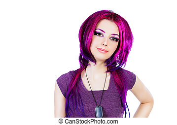 hair coloring - Beautiful young woman with bright crimson...