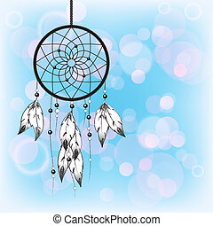 Dreamcatcher on blue - Dreamcatcher silhouetted against a...
