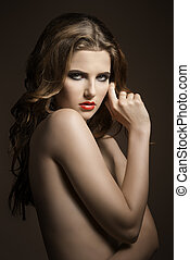 cute nude fashion girl - charming portrait of very sexy...