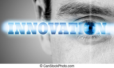 Innovation - Futuristic image with word Innovation using...