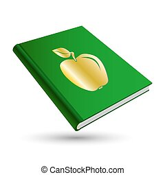education book - green education book with gold school 3d...