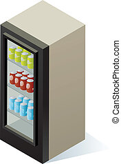 Beverage Cooler - An isometric beverage cooler with cans of...