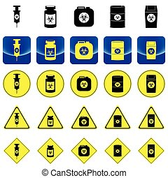 Warning sign for bio hazard in syringe and containers vector...