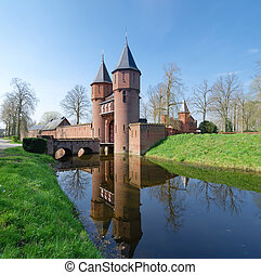 castle in the netherlands - entrance gate of castle The Haar...