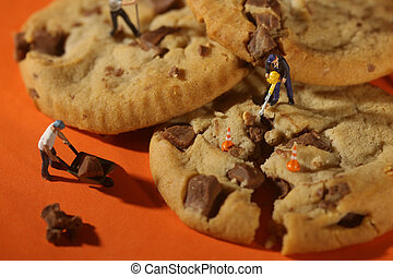 Plastic People Working on Chocolate Chip Cookies - Minature...