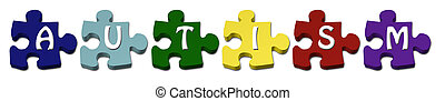 Autism Puzzle pieces - Colored Autism Puzzle pieces with...