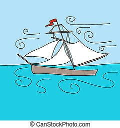 Sailing Boat in Ocean