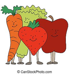 Fruit and Vegetable Characters - An image of fruit and...
