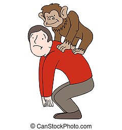 Monkey on Back - An image of a man with a monkey on his...