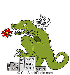 Monster Destroying City - An image of a monster smashing...