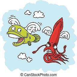 pez, vuelo, persecución
