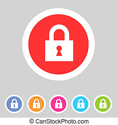 Flat game graphics icon lock - Flat style game icons for...