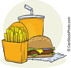 Fast Food Meal - Cartoon fast food meal with hamburger,...