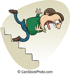 Falling Man - A cartoon man trips and falls down the stairs.