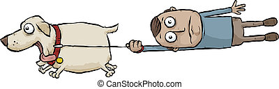 Running Dog - A running cartoon dog pulls its owner on a...