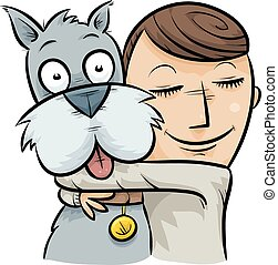 Dog Hug - A cartoon boy hugging his friendly dog