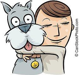 Dog Hug - A cartoon boy hugging his friendly dog.
