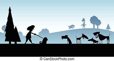 Dog Park - Cartoon silhouette of activity at a dog park.