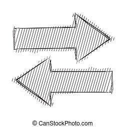 Arrows left right - Arrows isolated on white. Sketch vector...