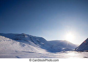 dramatique, hiver, paysage