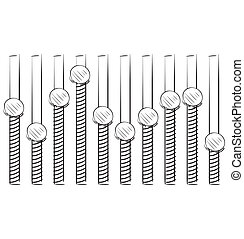 Equalizer Hand drawing sketch vector illustration in doodle...
