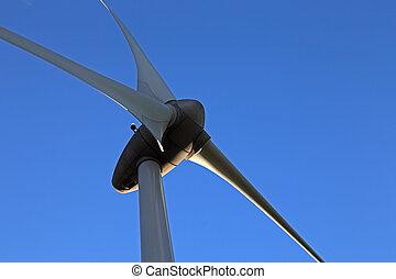 turbina, Primer plano, viento, vista