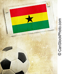 Photo of Ghana flag and soccer ball - Vintage photo of Ghana...