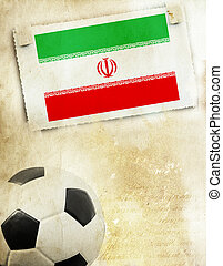 Photo of Iran flag and soccer ball - Vintage photo of Iran...
