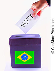 Brazil Urn for vote - Urn for vote, with male hand posting...