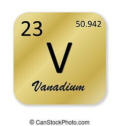 Vanadium element - Black vanadium element into golden square...